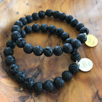 Pair of Black Lava Rock Essential Oil Aromatherapy Diffuser Bracelets by Lotus Jewelry Studio