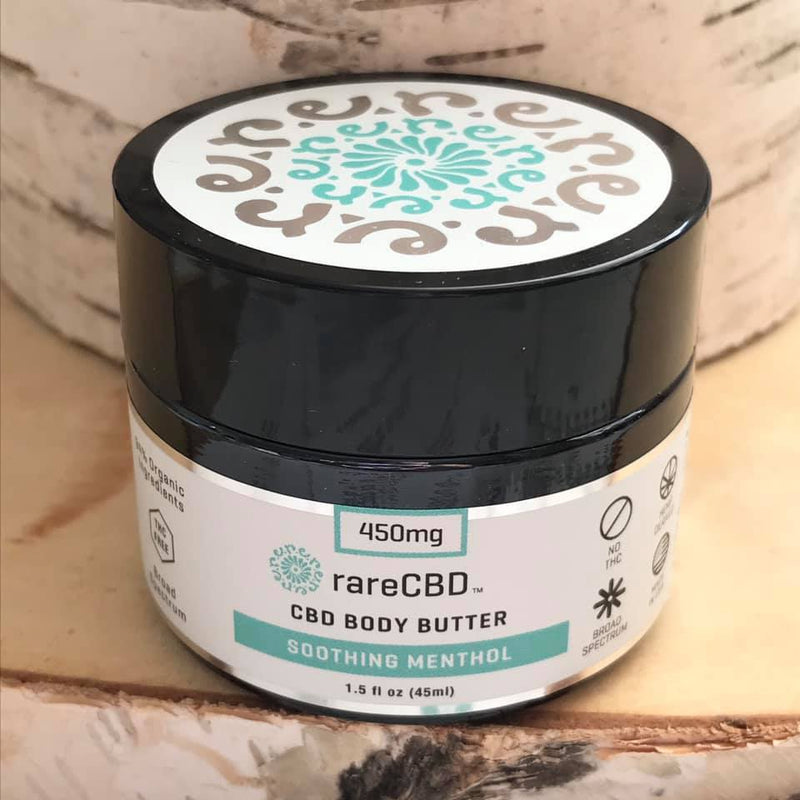 Jar of CBD body butter with soothing menthol