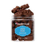 Choco Bears are only chocolate on the outside. Inside they're actually gummy bears in interesting flavors. You get a jar of 7 ounces of these bouncy bears.