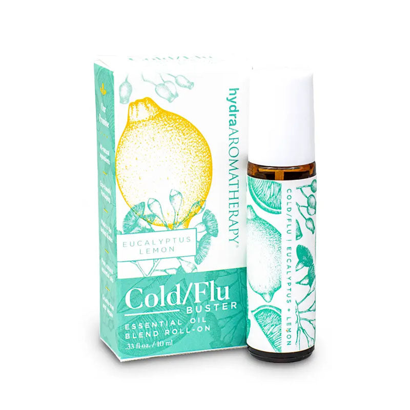 Bust that cold and/or flu with this essential oil roll on. The cold & flu buster contains eucalyptus and lemon essential oils and comes in a 10 ml roll on bottle with a green lemon & eucalyptus leaf design.