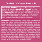 Here's the nutrition facts, ingredients, and allergy information for this cookies and cream bite candy.