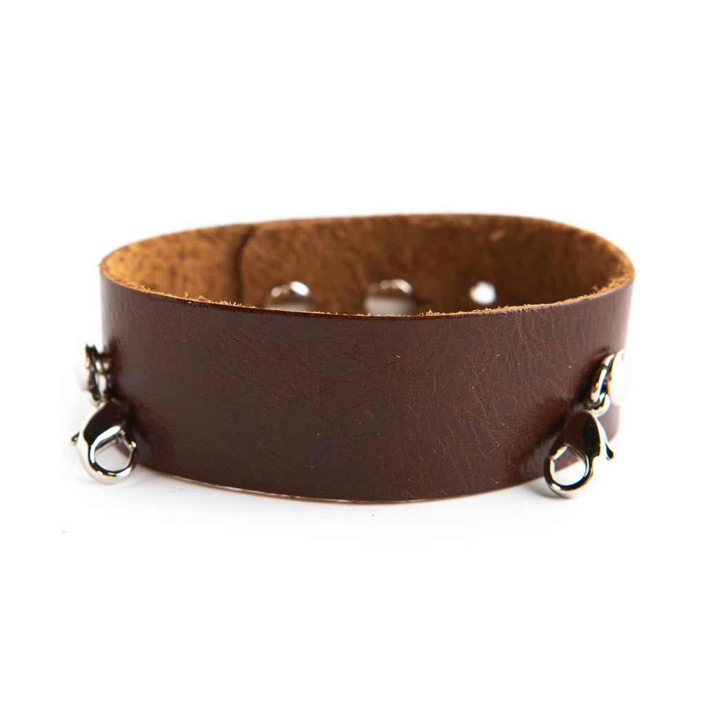 Thin Leather Cuff - Silver Clasps