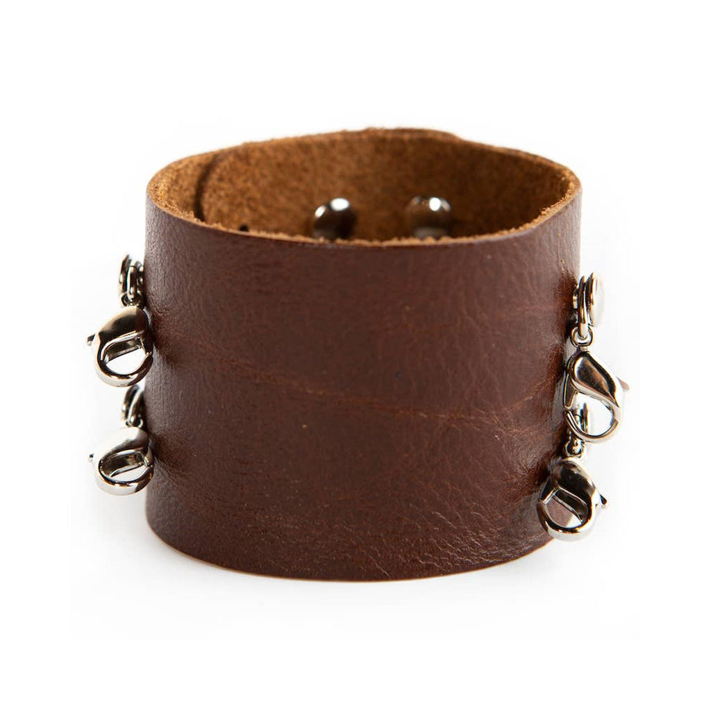 Wide Leather Cuff - Silver Clasps