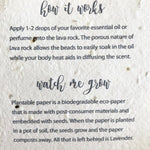 Instructions for using Lava Rock Essential Oil Aromatherapy Necklace. Printed on plantable lavender seed jewelry card.