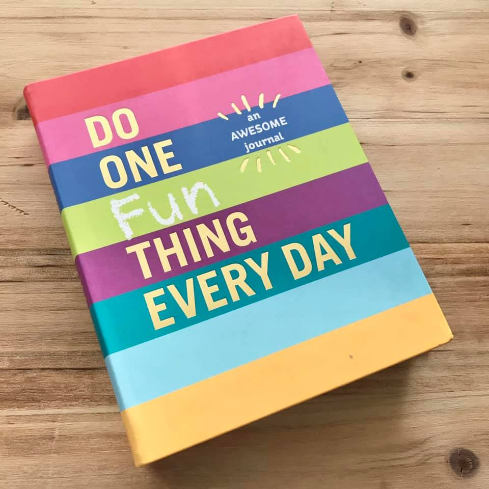 """Do One Fun Thing Every Day"" is an AWESOME journal (it says so right on the cover)! 365 writing prompts get you to think about something fun in every day!"