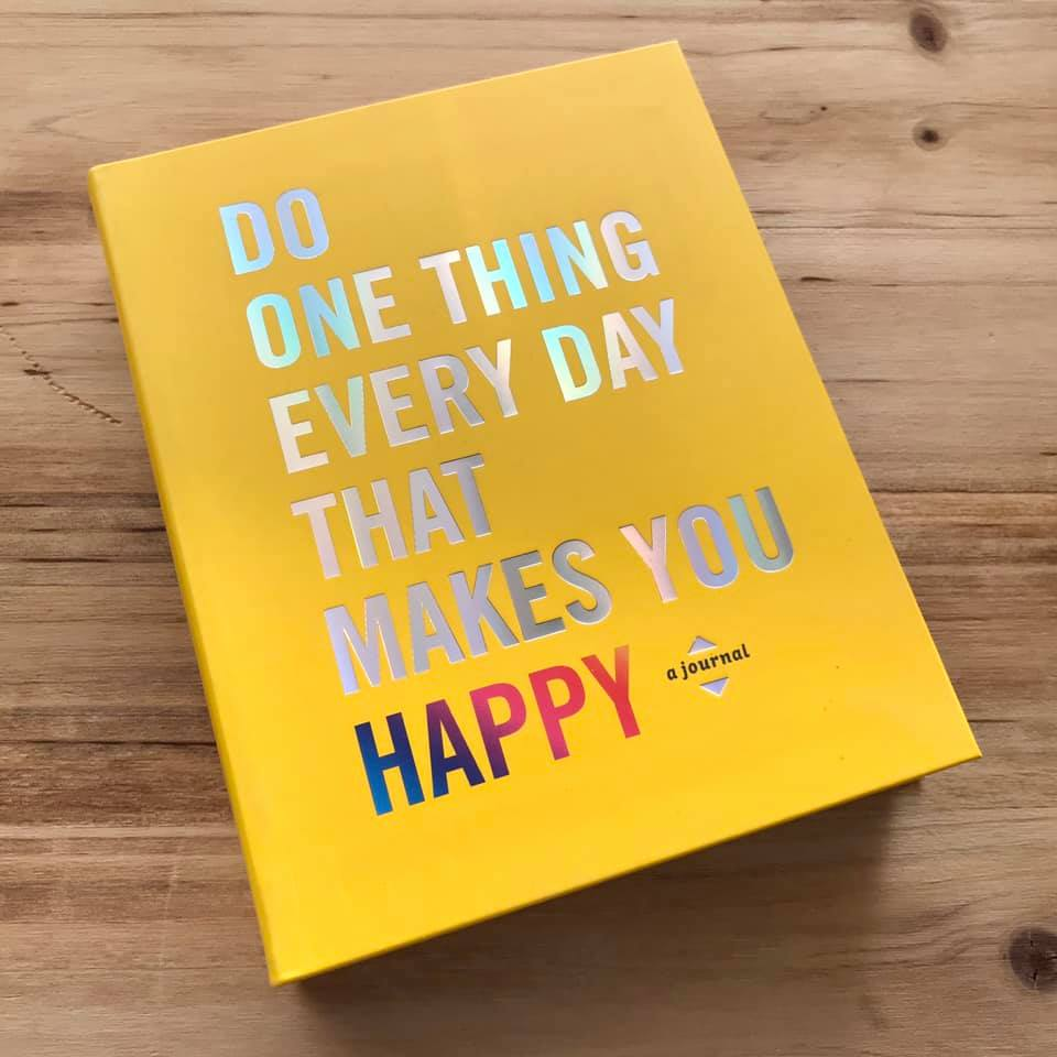 "They say a habit develops in 21 days. This journal, ""Do One Thing That Makes You Happy"", lets you document 365 days of what makes you happy. So, you've got 15 times as long as long as you need to make happiness a habit...so you've lost your excuses."