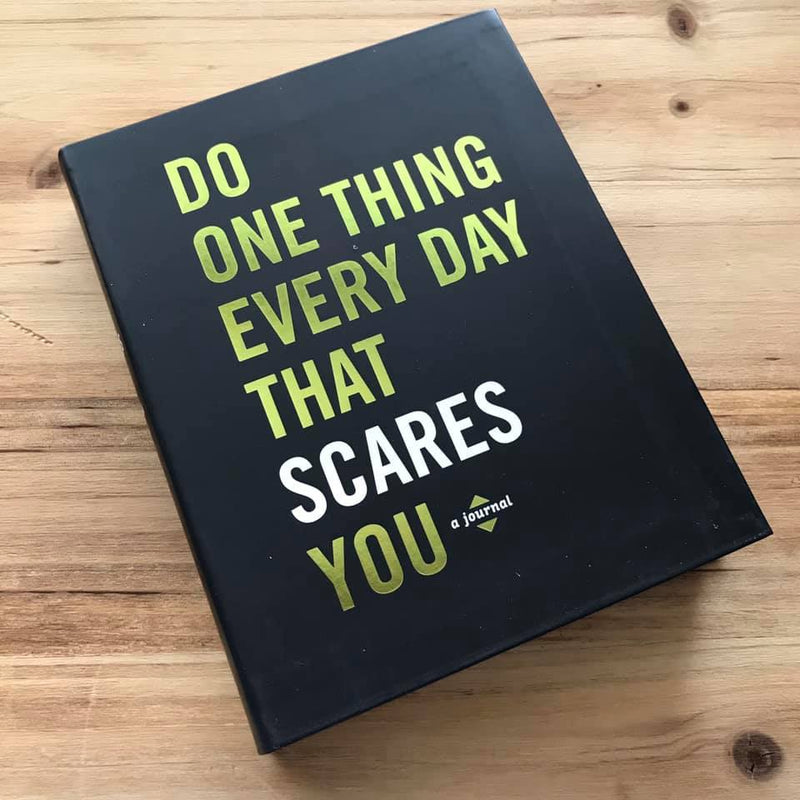 """Do One Thing Every Day That Scares You"" gives you 365 days worth of inspiring quotes and journal prompts to get you documenting how you face your fears each day!"