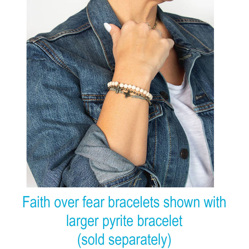 Faith over fear beaded bracelets shown on model