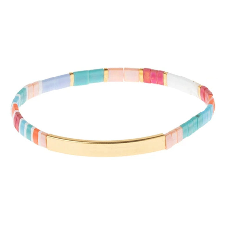 GOOD AS GOLD - Aqua Multi & Gold - Good Karma Miyuki Bracelet