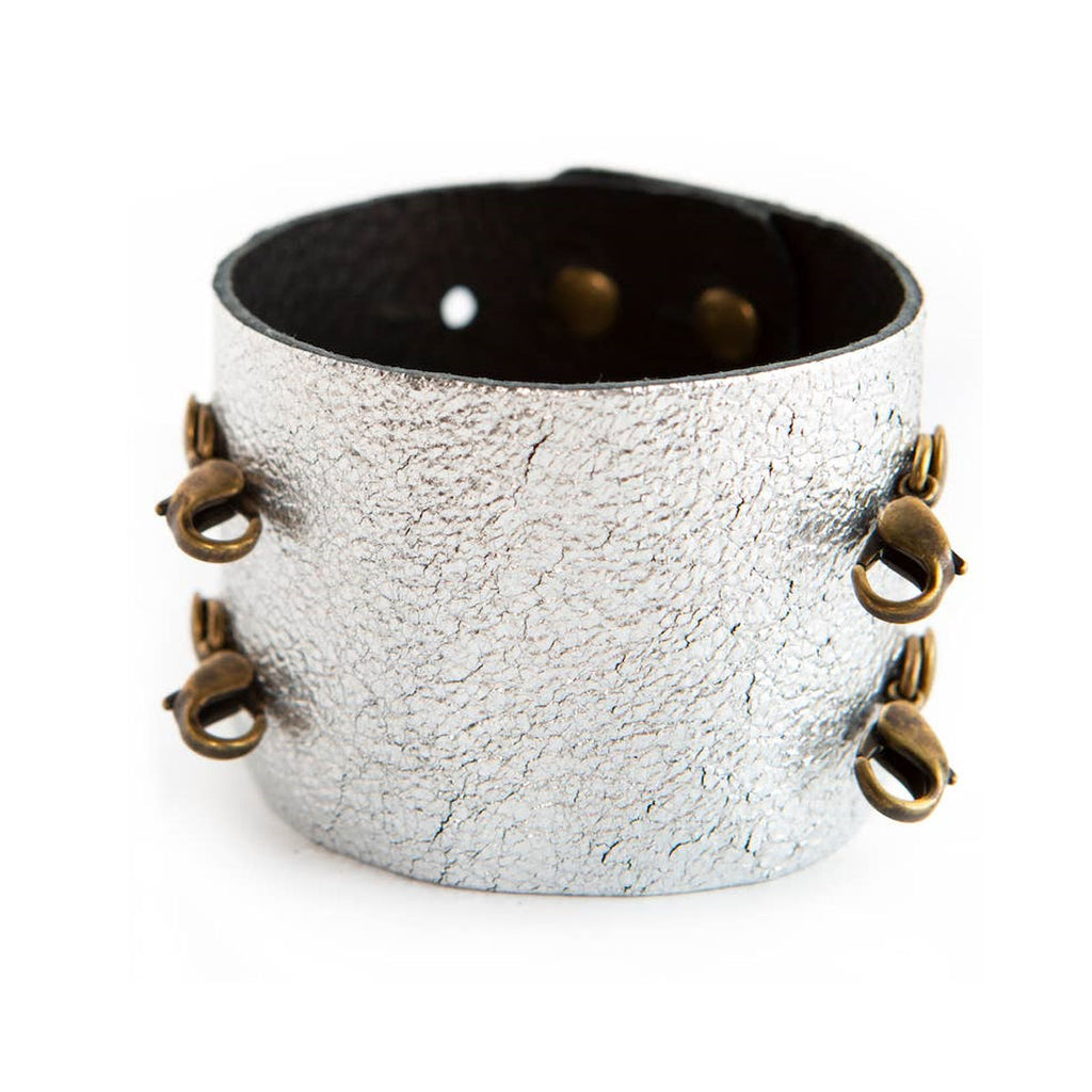 Wide Leather Cuff - Brass Clasps