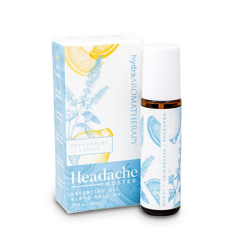Headache Buster contains peppermint to soothe and lemon to calm nausea. This roll on bottle contains 10 ml and has a light blue lemon and mint plant design.