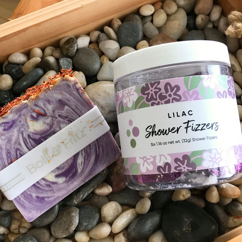 Lilac Scented Shower Fizzers and Handmade Bar of Soap by Bolli & Fritz