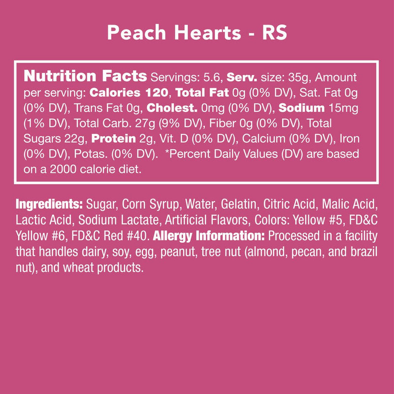 Nutrition, ingredient, and allergy information for Peach Hearts candies.