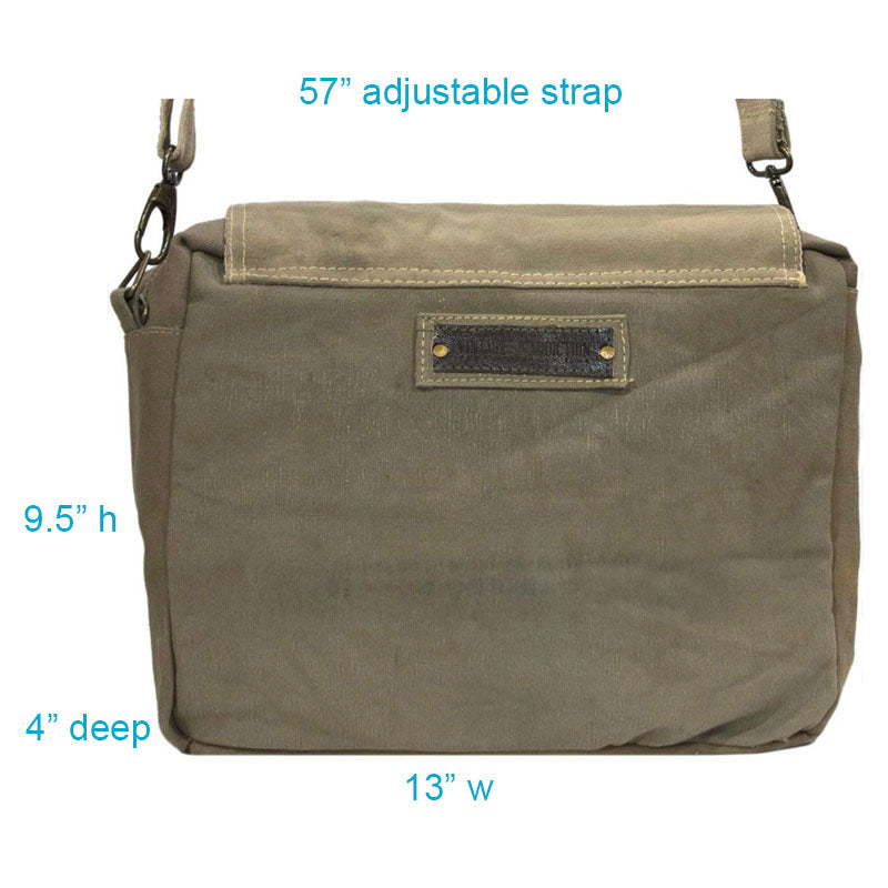 "Dimensions for this crossbody bag are 13"" wide by 9.5"" high by 4"" deep and includes a 57"" adjustable strap. Perfect size for your laptop."