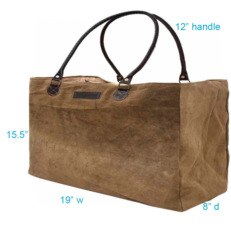 "Dimensions of this recycled market tote are 15.5"" high by 19"" wide by 8"" deep. It holds a LOT!"