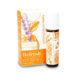 Refresh blend contains grapefruit and lavender essential oils in a roll on bottle decorated with an orange citrus and lavender plant design.