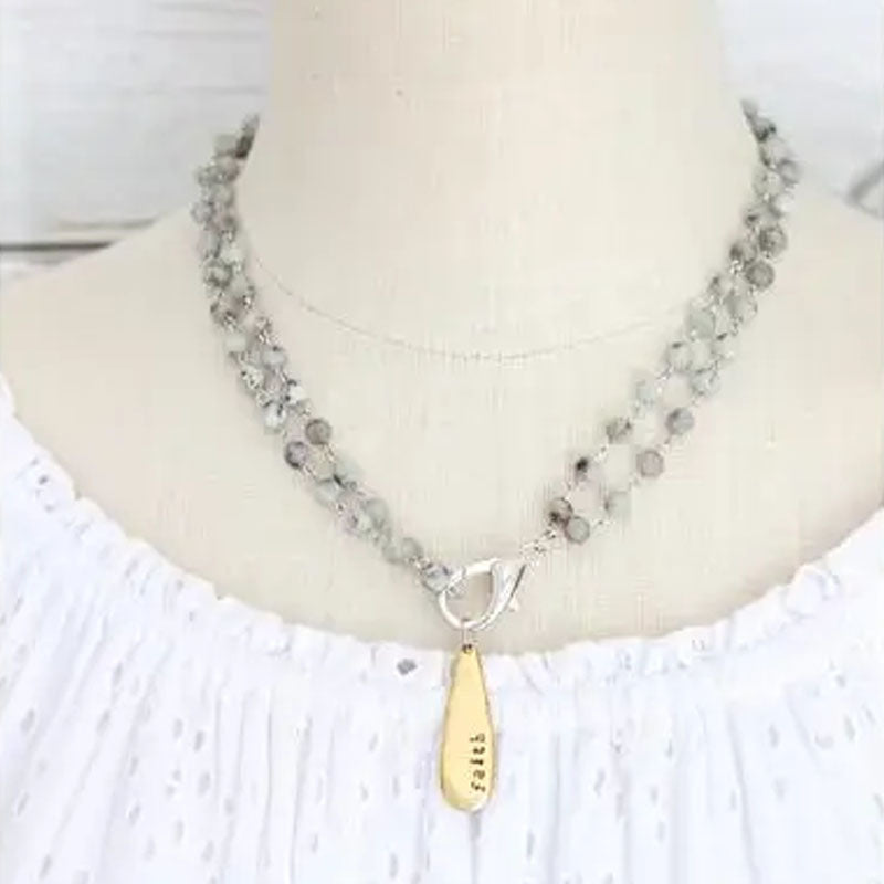 Teardrop pendant on short necklace chain