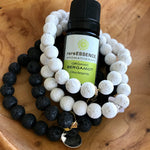 White Lava Rock Essential Oil Bracelet - Gold Charm