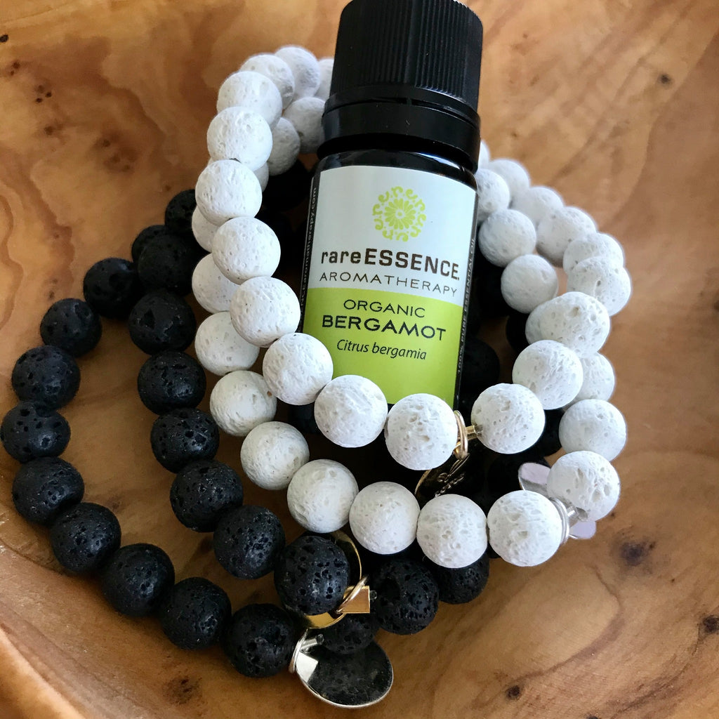 White Lava Rock Essential Oil Bracelet - Silver Charm