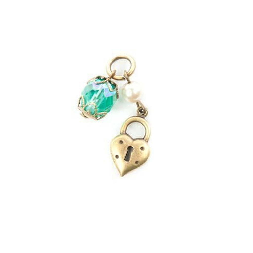Brass finish Lenny & Eva charm with a blue green stone and a lock in the shape of a heart.
