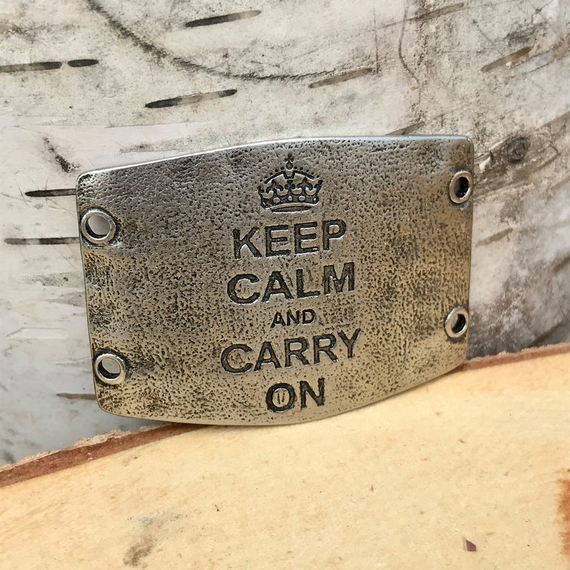 "Antique silver toned Lenny & Eva bracelet sentiment that reads, ""Keep calm and carry on"" Design of crown above quote."