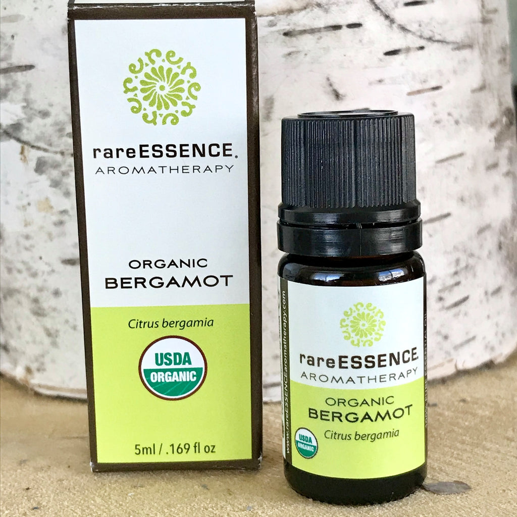 Bottle of organic bergamot essential oil by Rare Essence
