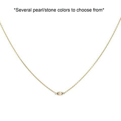 Lenny and Eva Trousseau brass necklace in vintage pearl. Several colors to choose from.