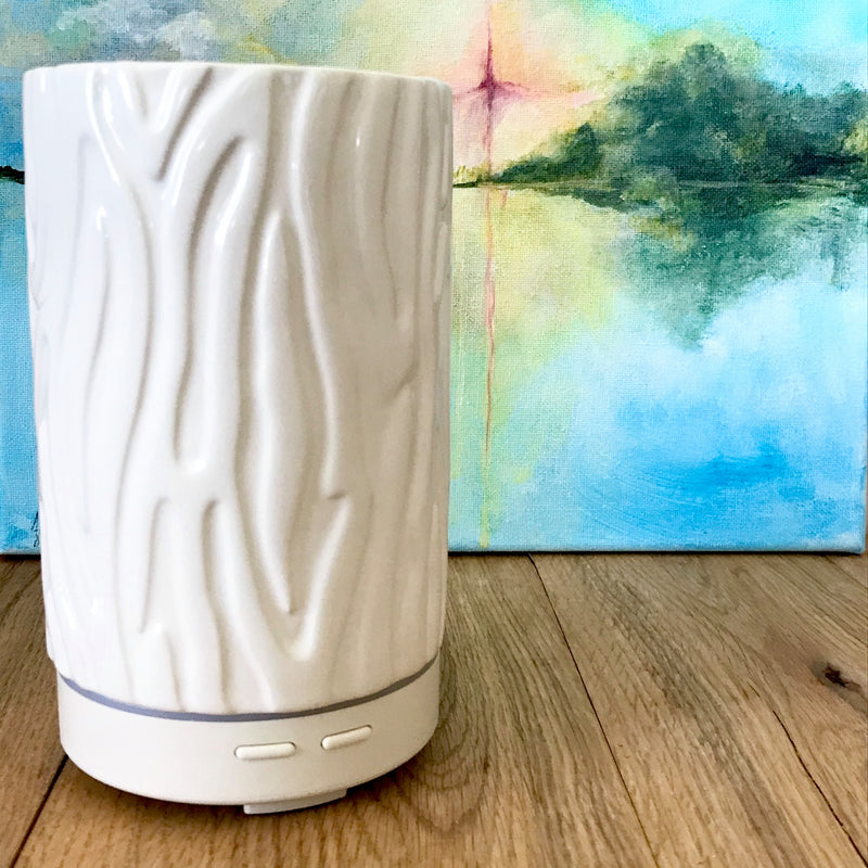 This clean and simple electric ceramic diffuser is perfect to diffuse essential oils in almost any room in your house or office! Features intermittent or continuous diffusion control, color changing light, and auto shut off features.