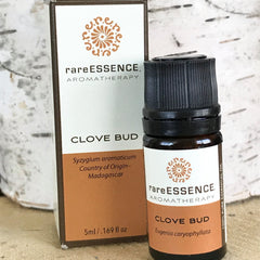 Clove bud is a warm and spicy essential oil that is used for aches and pains, breathing well, and even helps deter bugs!
