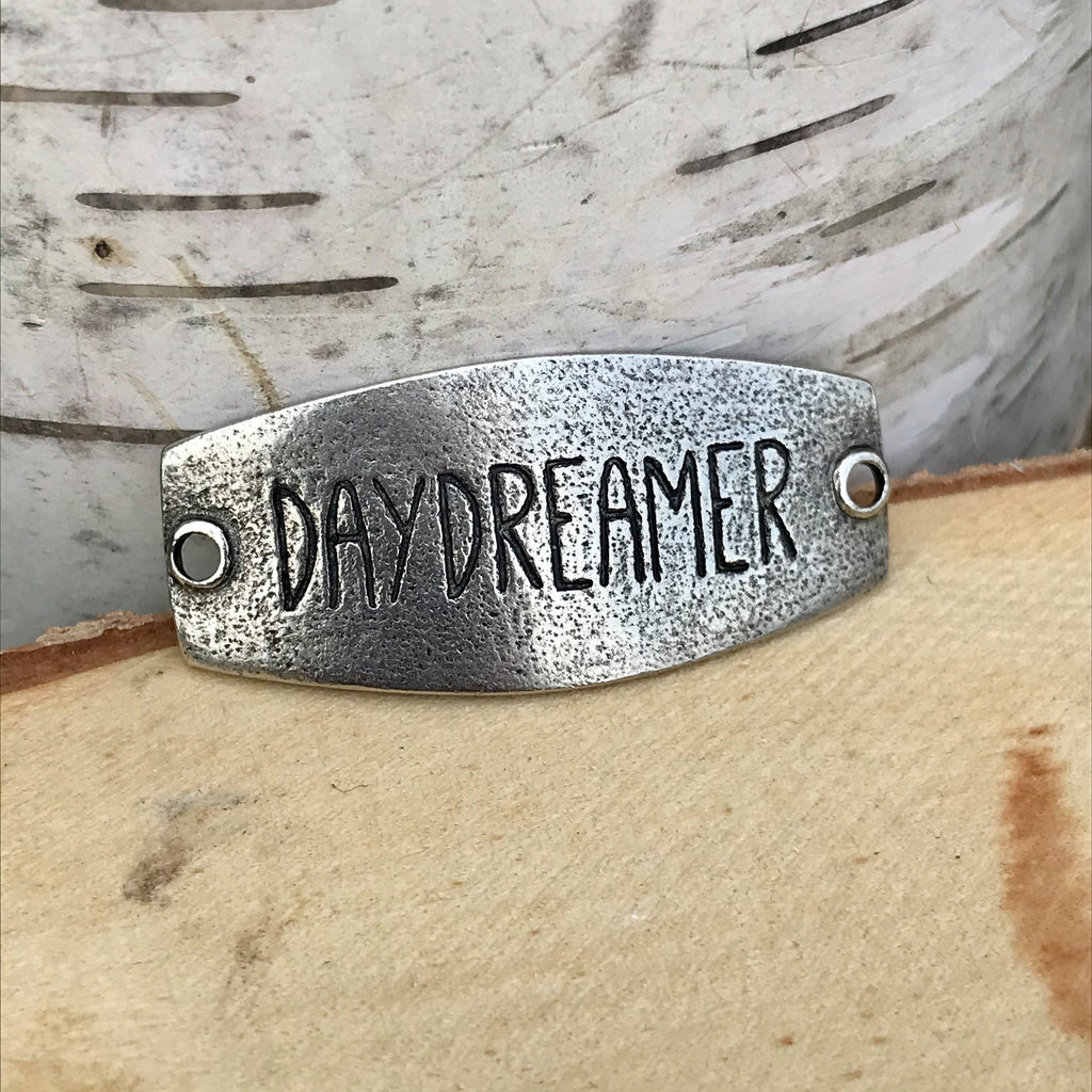 antique silver Lenny & Eva sentiment stamped with DAYDREAMER