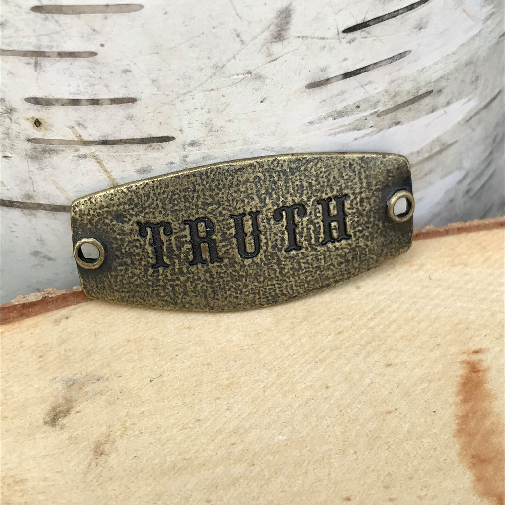 antique brass Lenny & Eva sentiment stamped with TRUTH
