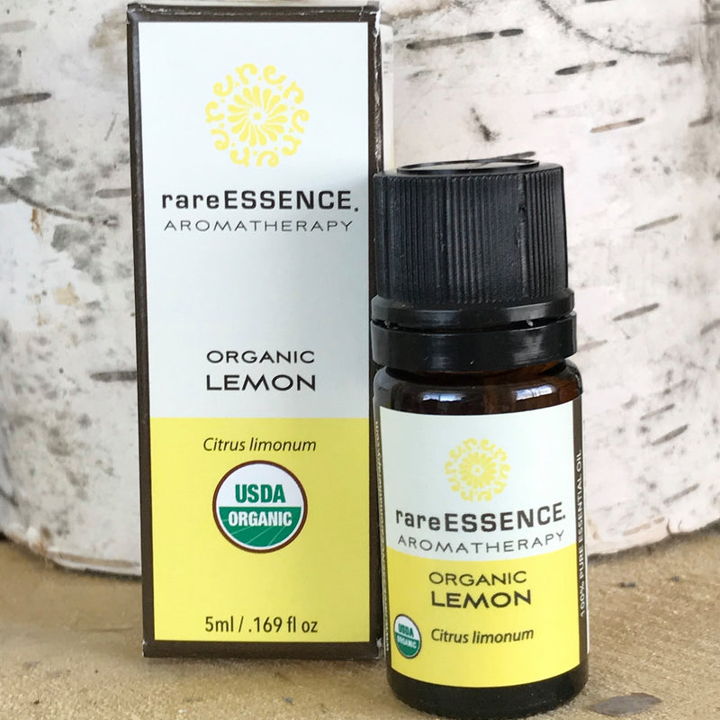 Bottle of Organic Lemon Essential Oil by Rare Essence