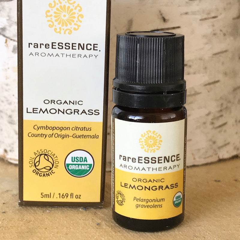 Bottle of organic Lemongrass essential oil by Rare Essence