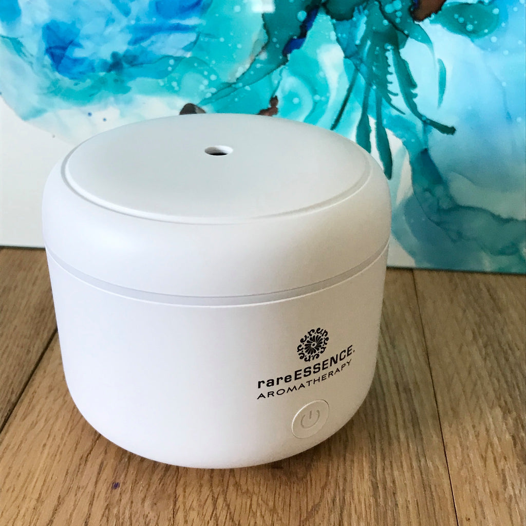 This ultrasonic essential oil diffuser is compact and lightweight enough to use anywhere...home, office, dorm, hotel! Color changing light and USB connection.