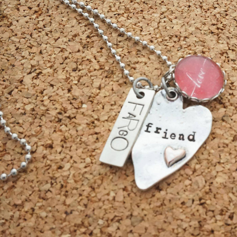 Powerful - Stamped Tag Pendant