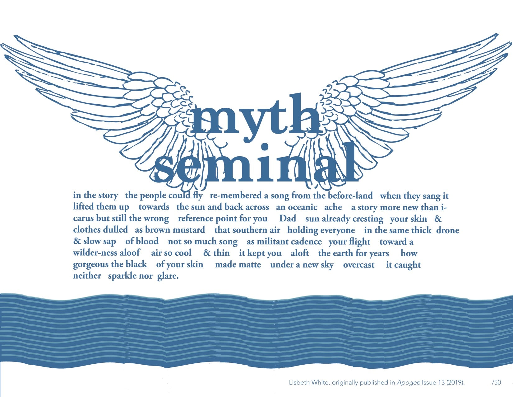 "Lisbeth White, ""Myth, Seminal"" Broadside"