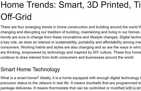 Home Trends: Smart, 3D Printed, Tiny, Off-Grid Article For Sale