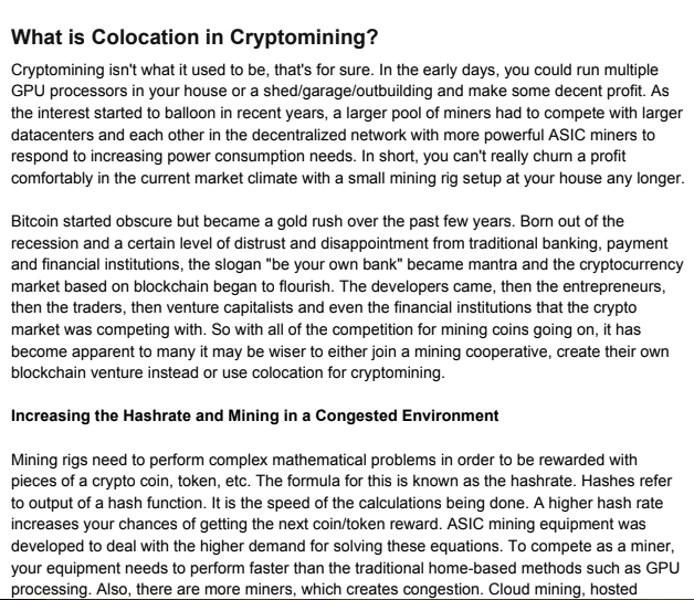 What is Colocation in Cryptomining Article