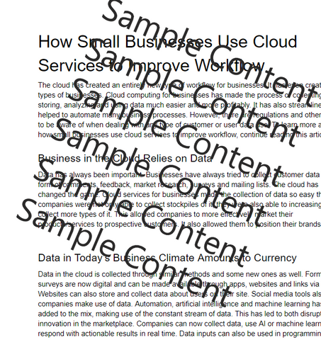 How Businesses Use Cloud Services to Improve Workflow Article for Sale