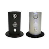 The Da Buddha taple top vaporizer in silver and black finishes