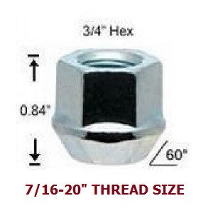 "LUG NUT BULGE ACORN - 3/4"" (19MM) HEX - OPEN END"