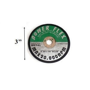 "3"" CUT OFF WHEEL 3"" X 1/32"" X 3/8""  (10 PACK) (DISCO PARA CORTE) (80201)"