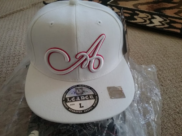 All White A Hat With red outline