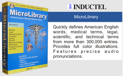 Inductel MicroLibrary Dictionary Software Combo Web App, Version 17