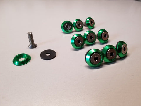 10PC GREEN BILLET ANODIZED ALUMINUM FENDER WASHER ENGINE BAY DRESS UP KIT