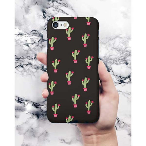 Black Color Cactus Pattern Phone Case