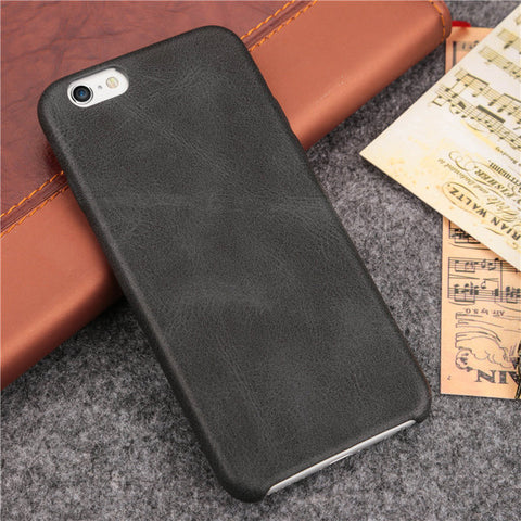 Black Leather Slim iPhone Case Cover