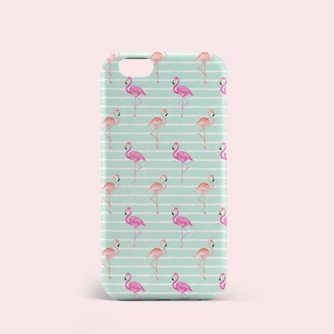 Blue Green Color Flamingo Pattern Phone Case