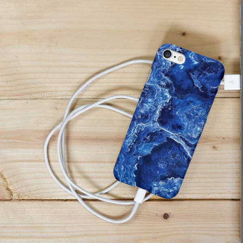 Dark Blue Abstract Marble Phone Case