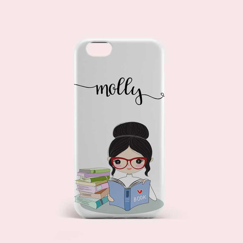 Black Hair Girl Reading Personalized Phone Case